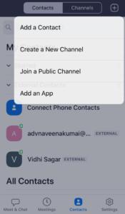 Zoom App - Contact Screen