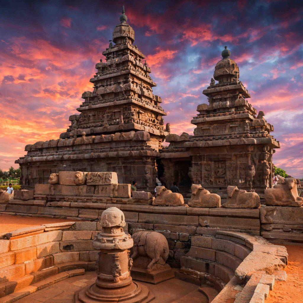 A Tamil Nadu landmark, the Shore Temple consists of two Shiva shrines sandwiching a Vishnu shrine