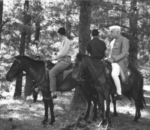 Horse riding with his grandsons Rajiv and Sanjay