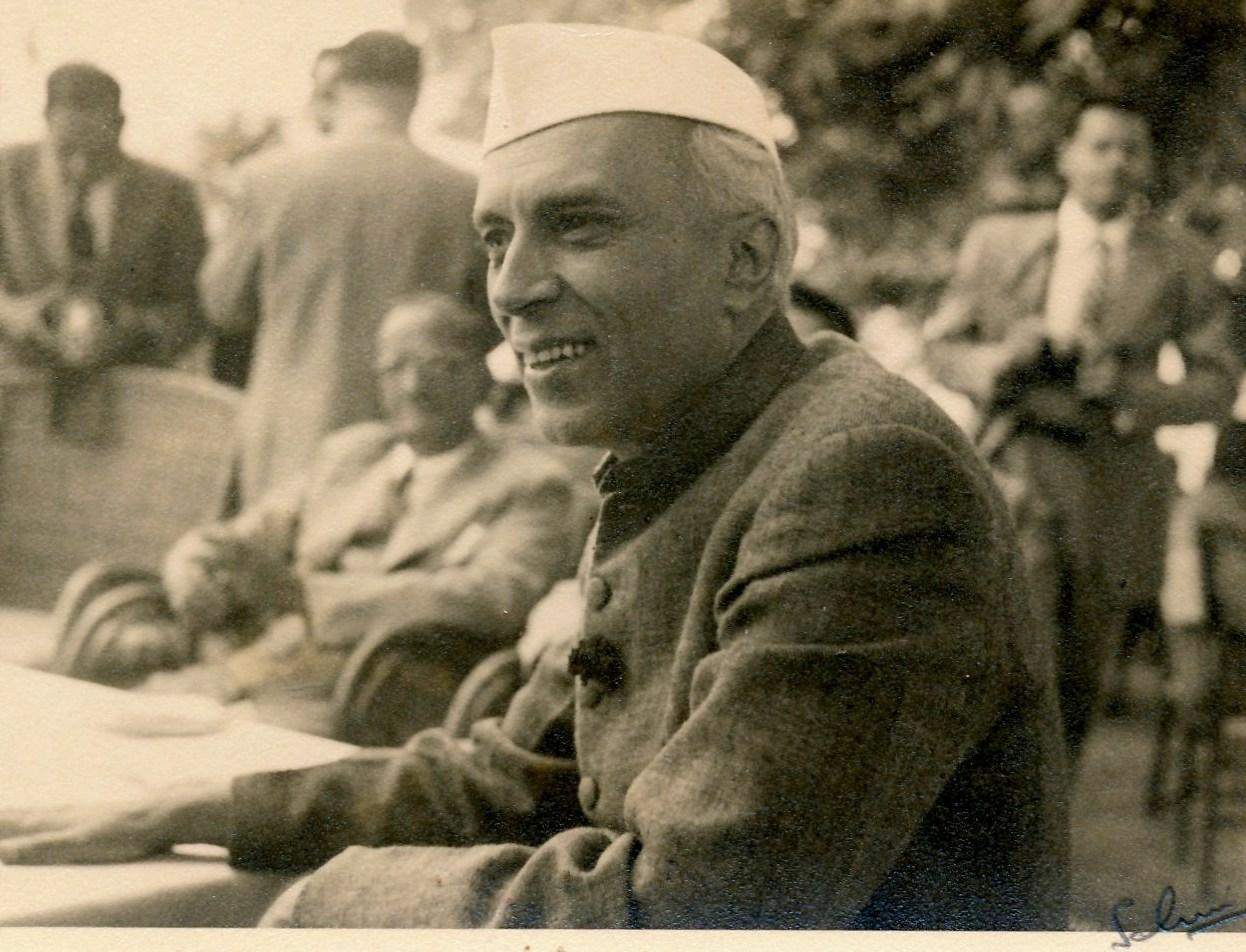 OPENING PIC Jawahar Lal Nehru at the Emporium grounds at Srinagar at a civic reception