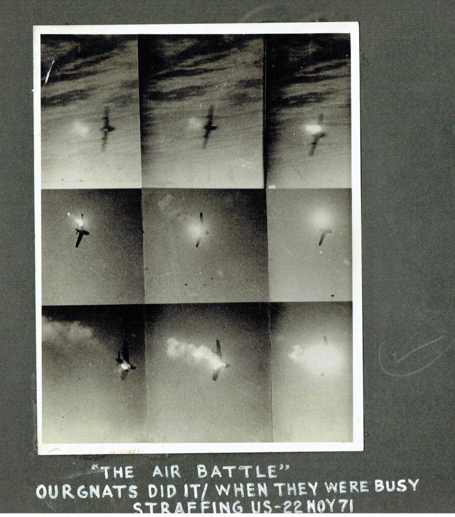 Our Gnats in action against the enemy Sabres during the air battle