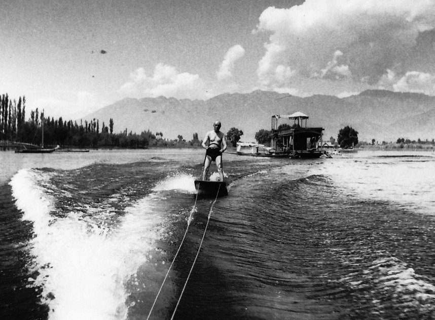The famous surf riding photo at Nageen lake. Seconds later, he fell down and father who was in the motor boat was frightened of the consequences