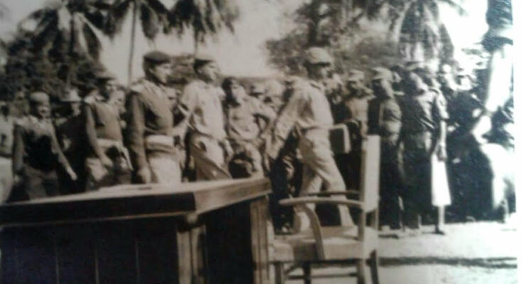 Pakistani Officers marched in by their 107 Infantry Brigade Commander Brig Hayat for the formal Surrender Ceremony on December 17, 1971 in Khulna