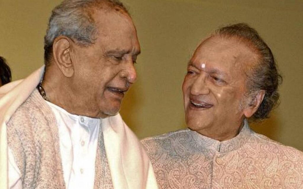 A confluence of two greats - Pt Bhimsen Joshi with Pt Ravi Shankar at a music festival