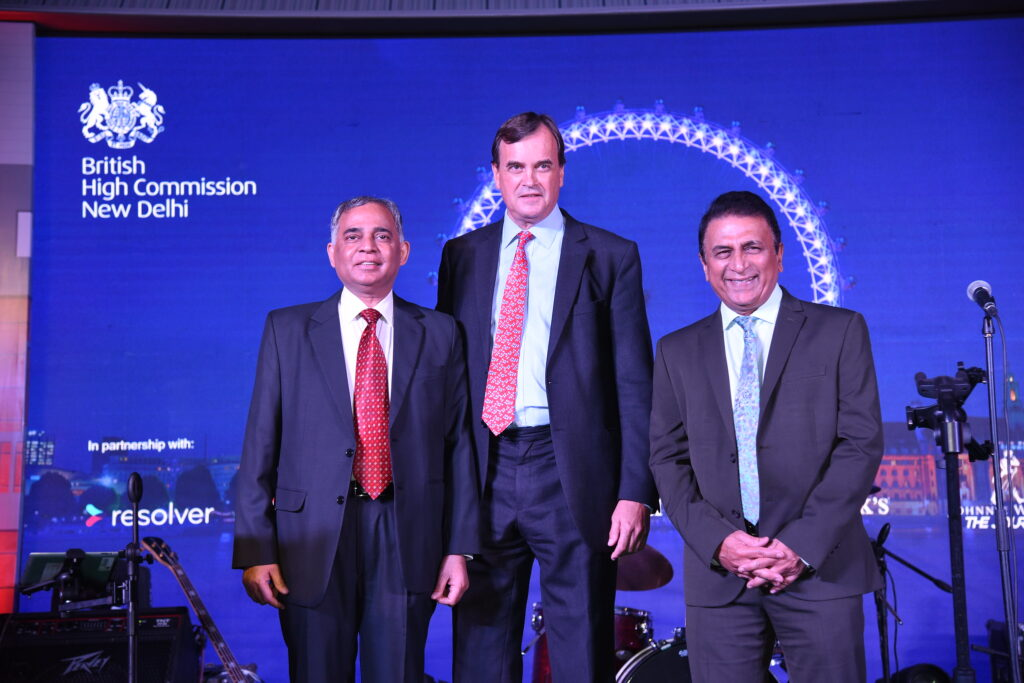 At the Queen's birthday party hosted by the British High Commission in New Delhi in 2019, Sunil Gavaskar with High Commissioner Sir Dominic Asquith (centre) and Ministry of External Affairs diplomat A Gitesh Sarma (left)