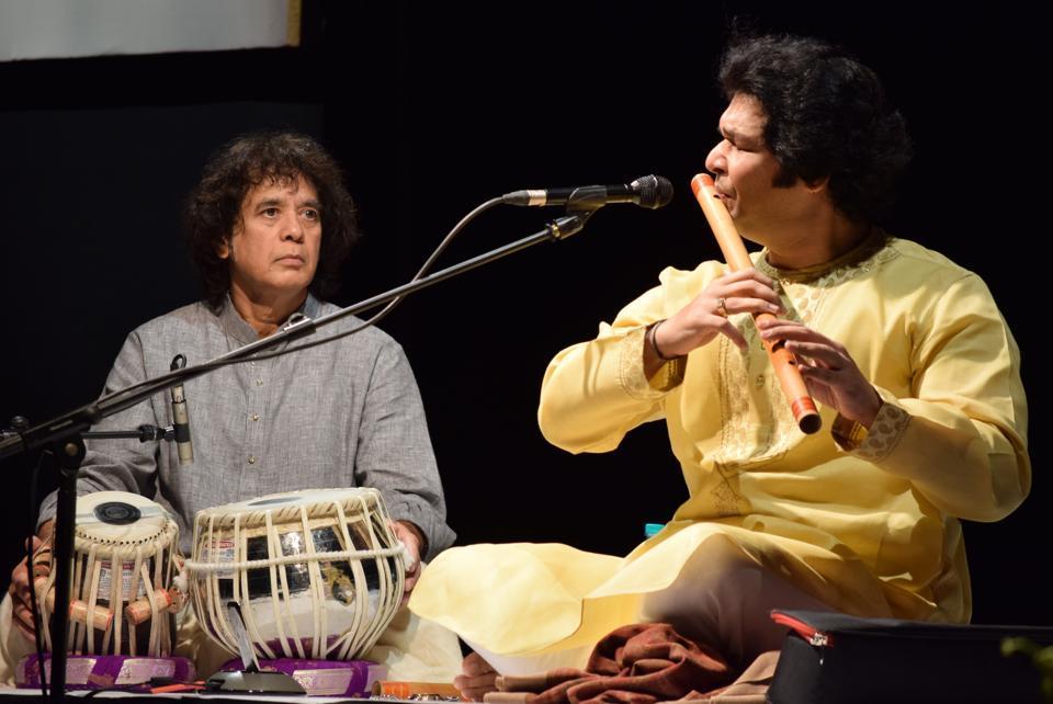 Ustad Zakir Hussain has amazing rapport across generations - here, performing with Rakesh Chaurasia