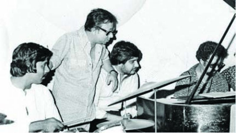 Banks with RD Burman (second from left)