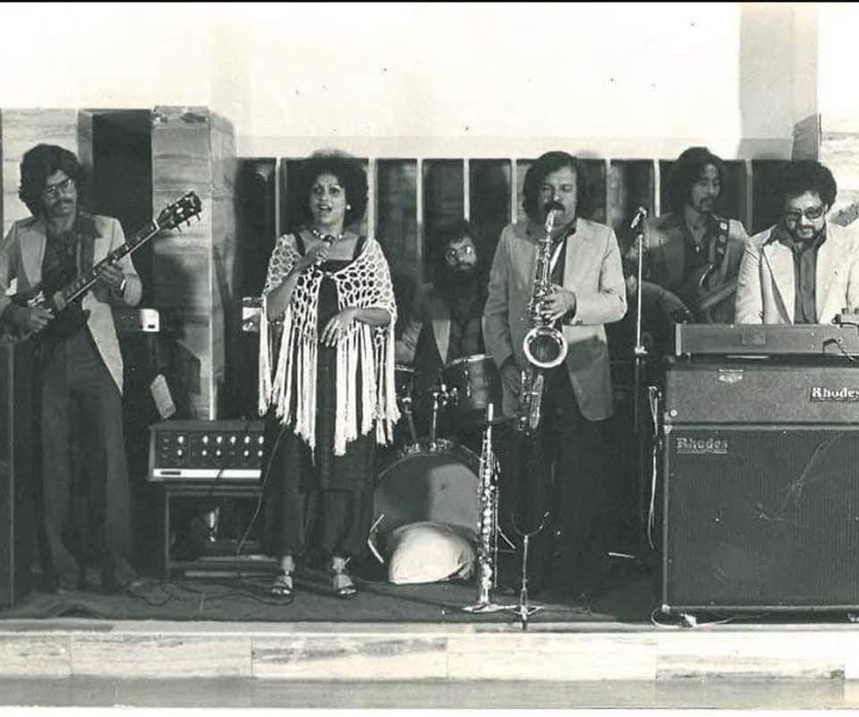 From left, Karl Peters, Yvonne Gonsalves, Buster Grant, Braz Gonsalves, Lew Hilt and Louiz Banks