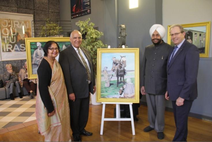 Ramesh and Meena Vohra with Sardar Iqbal Singh (ex Lt Governor Pondicherry) and Joel Duyck, Mayor of Merville city